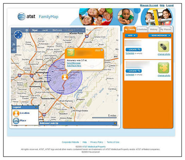 How to use AT&T family map?